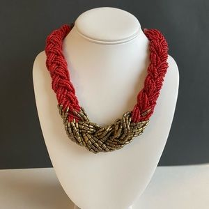 Red and brass bead braided necklace